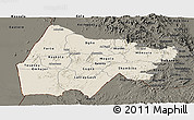 Shaded Relief Panoramic Map of Gash-Barka, darken