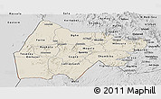 Shaded Relief Panoramic Map of Gash-Barka, desaturated