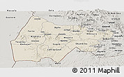 Shaded Relief Panoramic Map of Gash-Barka, semi-desaturated