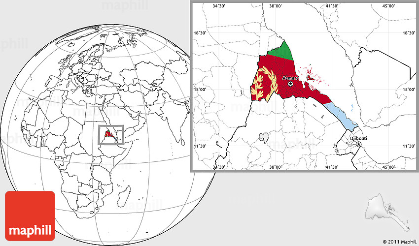Flag Location Map of Eritrea blank outside