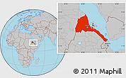 Gray Location Map of Eritrea