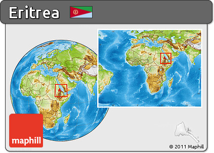 Physical Location Map of Eritrea, within the entire continent