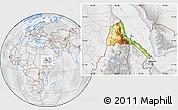 Physical Location Map of Eritrea, lighten, desaturated