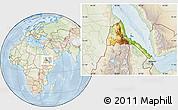 Physical Location Map of Eritrea, lighten