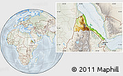 Physical Location Map of Eritrea, lighten, semi-desaturated