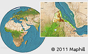 Physical Location Map of Eritrea, satellite outside