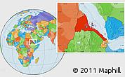 Political Location Map of Eritrea