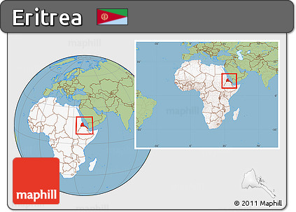 Free Savanna Style Location Map of Eritrea highlighted continent
