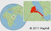Savanna Style Location Map of Eritrea