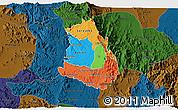 Political 3D Map of Makelay, darken