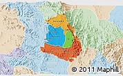 Political 3D Map of Makelay, lighten