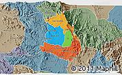 Political 3D Map of Makelay, semi-desaturated