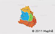 Political 3D Map of Makelay, single color outside