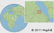 Savanna Style Location Map of Asmara City