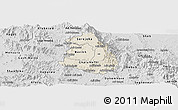 Shaded Relief Panoramic Map of Makelay, desaturated