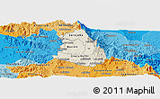 Shaded Relief Panoramic Map of Makelay, political shades outside