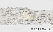 Shaded Relief Panoramic Map of Makelay, semi-desaturated