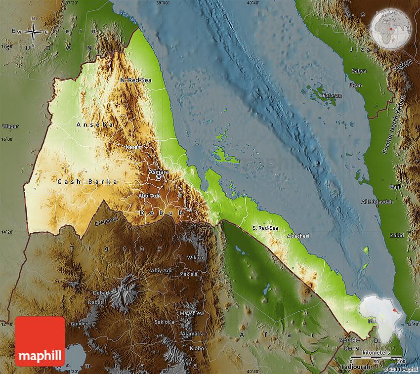 Physical Map of Eritrea darken