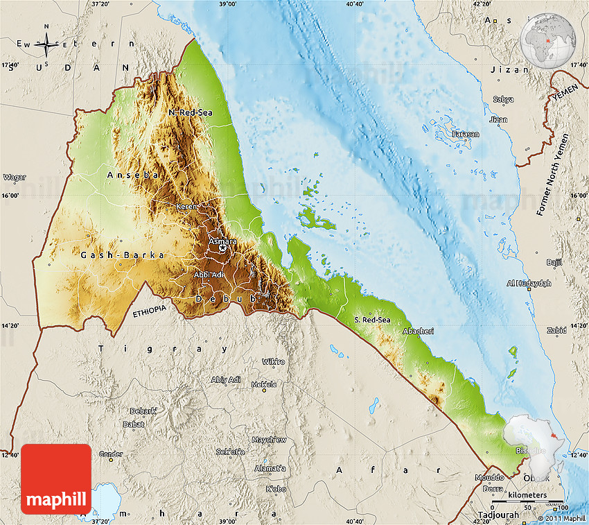 Physical Map Of Eritrea Shaded Relief Outside - Eritrea map