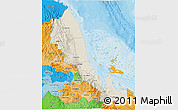 Shaded Relief 3D Map of N. Red-Sea, political shades outside