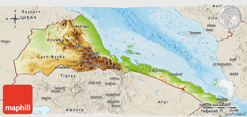 Physical Panoramic Map of Eritrea shaded relief outside