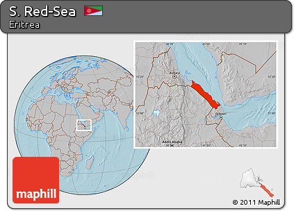 Free Gray Location Map of S RedSea hill shading