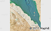 Shaded Relief Map of S. Red-Sea, satellite outside