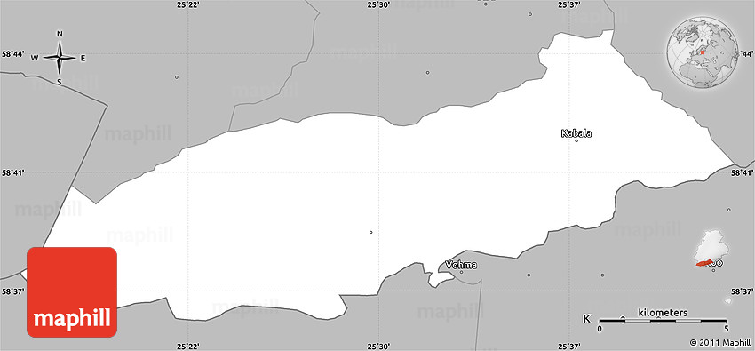 Gray Simple Map of Kabala