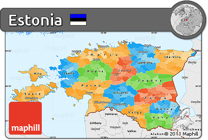 Free Political Simple Map of Estonia single color outside borders
