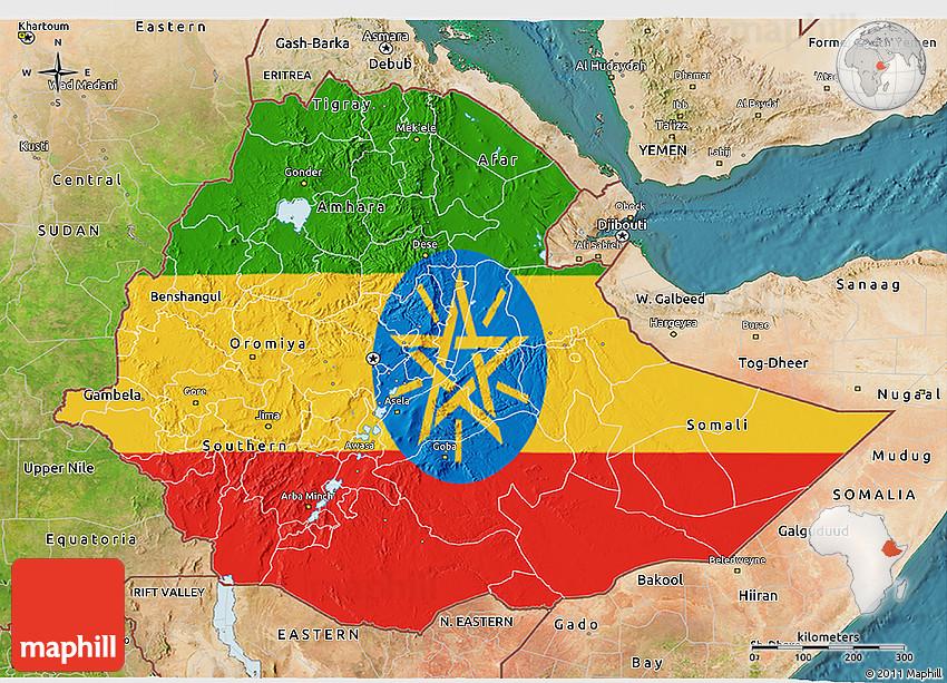 Flag 3D Map of Ethiopia, satellite outside