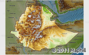 Physical 3D Map of Ethiopia, darken