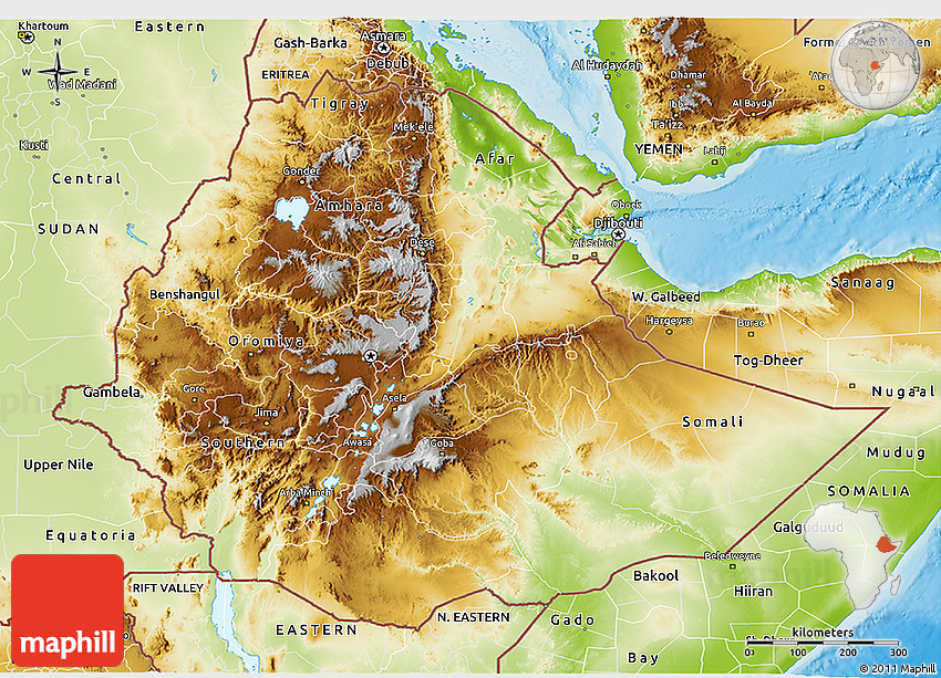 Physical 3D Map of Ethiopia