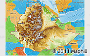 Physical 3D Map of Ethiopia, political outside, shaded relief sea