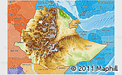 Physical 3D Map of Ethiopia, political shades outside, shaded relief sea