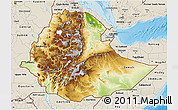 Physical 3D Map of Ethiopia, shaded relief outside
