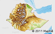 Physical 3D Map of Ethiopia, single color outside