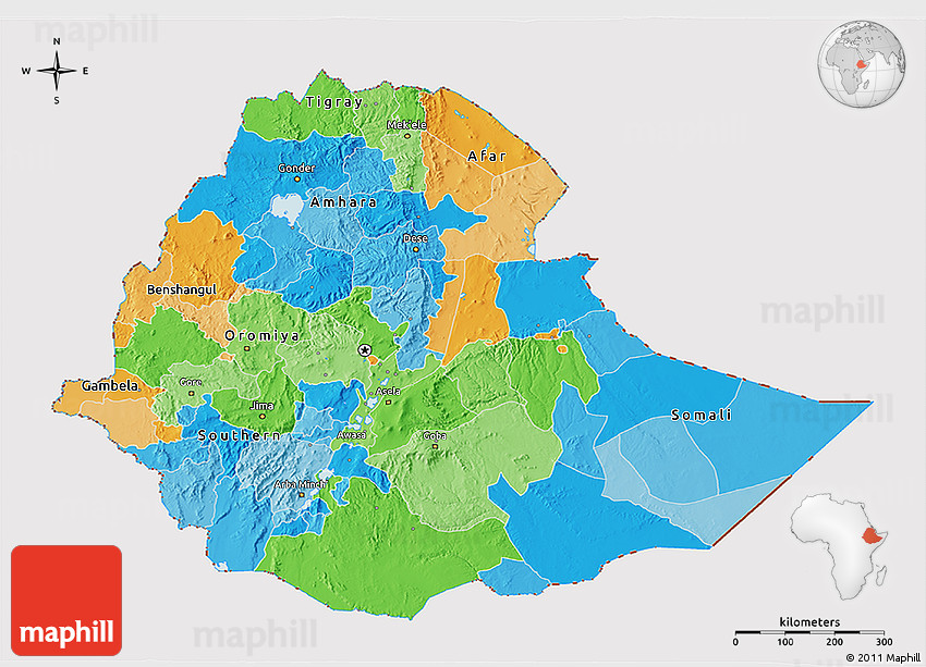 Political 3D Map of Ethiopia cropped outside
