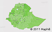 Political Shades 3D Map of Ethiopia, cropped outside