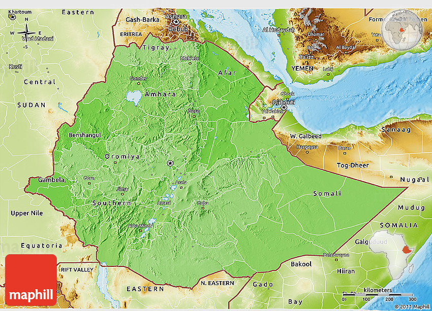 Political Shades 3D Map of Ethiopia physical outside