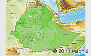 Political Shades 3D Map of Ethiopia, physical outside