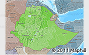 Political Shades 3D Map of Ethiopia, semi-desaturated, land only