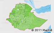 Political Shades 3D Map of Ethiopia, single color outside