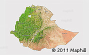 Satellite 3D Map of Ethiopia, cropped outside