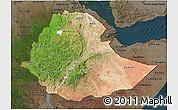 Satellite 3D Map of Ethiopia, darken