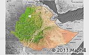 Satellite 3D Map of Ethiopia, desaturated