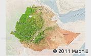 Satellite 3D Map of Ethiopia, lighten