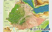 Satellite 3D Map of Ethiopia, physical outside, satellite sea