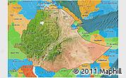 Satellite 3D Map of Ethiopia, political outside, satellite sea
