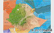 Satellite 3D Map of Ethiopia, political shades outside, satellite sea