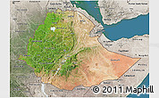 Satellite 3D Map of Ethiopia, semi-desaturated, land only